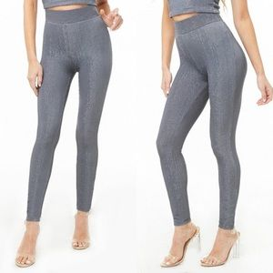 Forever 21 Metallic Ribbed Legging in Gunmetal, XS